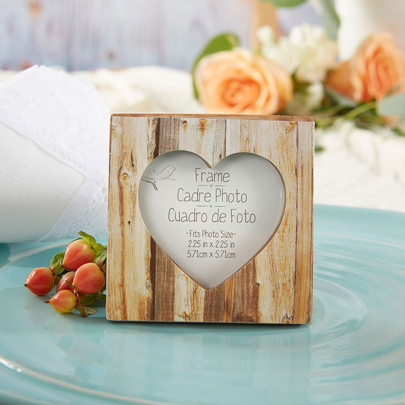 Rustic Romance Faux-Wood Heart Place Card Holder/Photo Frame