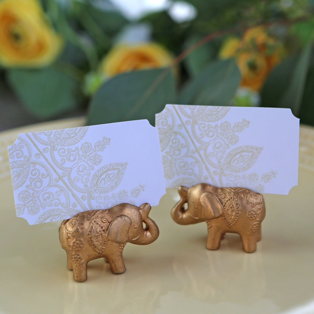 Gold Lucky Elephant Place Card Holder (Set of 6)