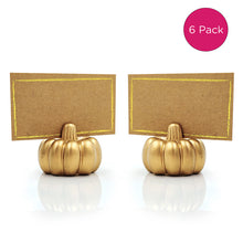 Load image into Gallery viewer, Gold Pumpkin Place Card Holder (Set of 6)