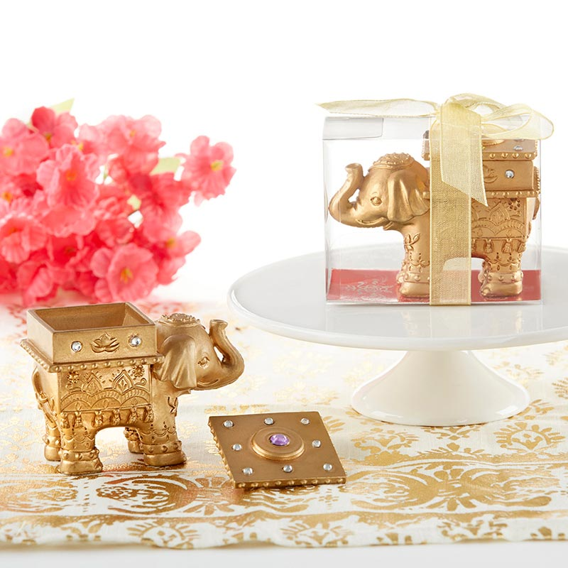 Lucky Golden Elephant Trinket Box