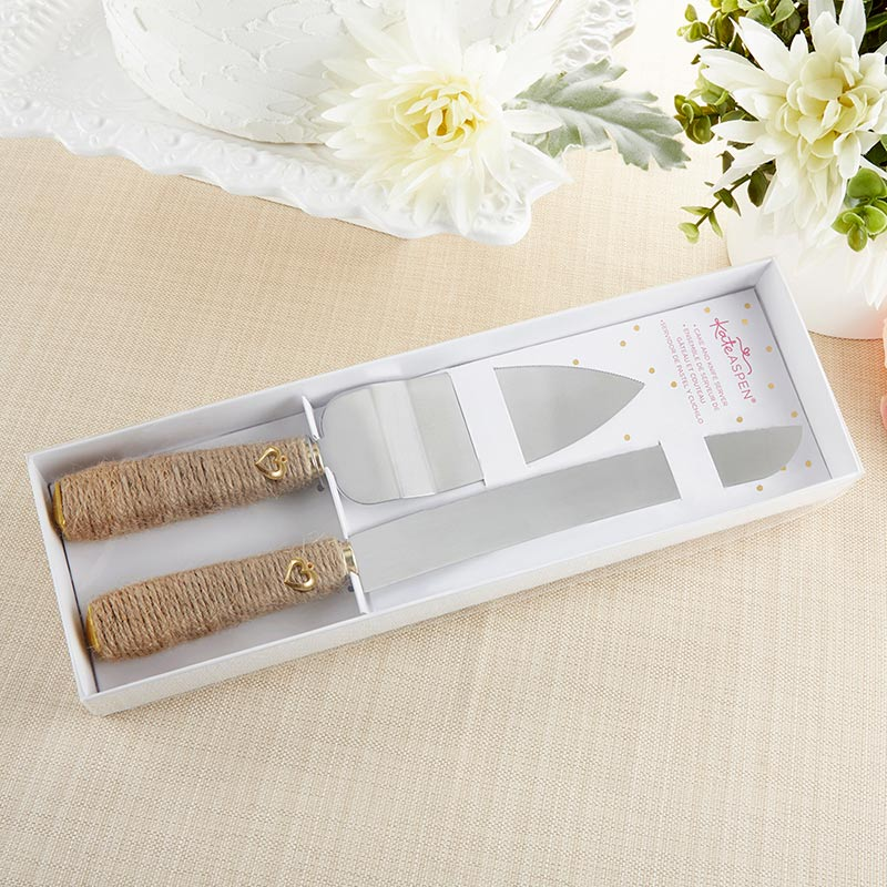 Gold Heart Wedding Knife & Cake Server Set