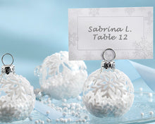 Load image into Gallery viewer, Snow Flurry Flocked Glass Ornament Place Card/Photo Holder (Set of 6)