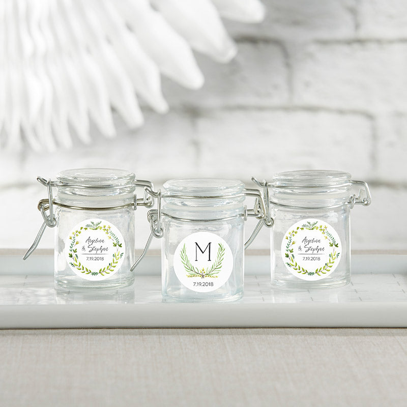 Personalized Glass Favor Jars - Botanical Garden (Set of 12)