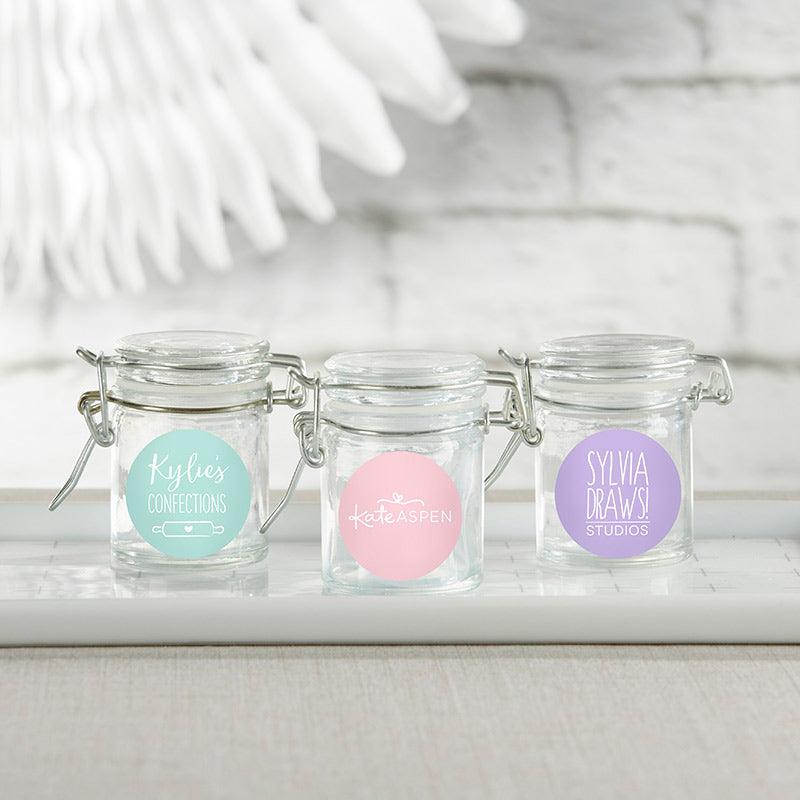 Personalized Glass Favor Jars - Custom Design (Set of 12)