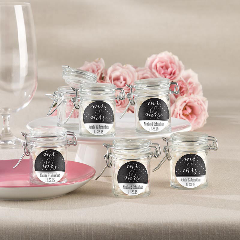 Personalized Glass Favor Jars - Mr. & Mrs. (Set of 12)