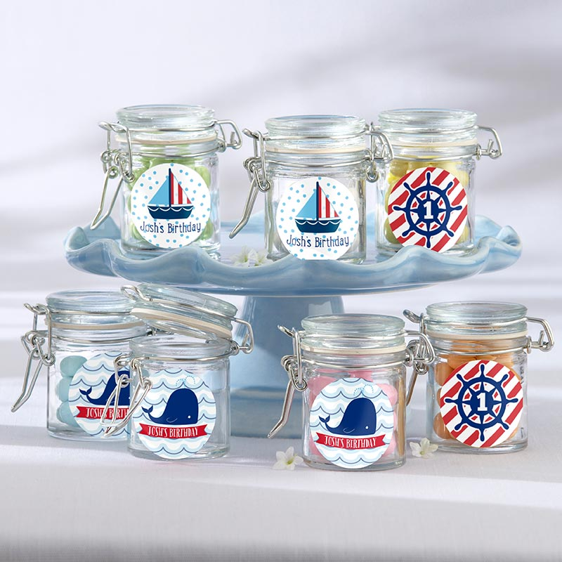 Personalized Glass Favor Jars - Kate's Nautical Birthday Collection (Set of 12)