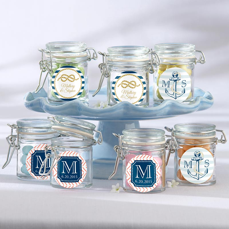 Personalized Glass Favor Jars - Kate's Nautical Wedding Collection (Set of 12)