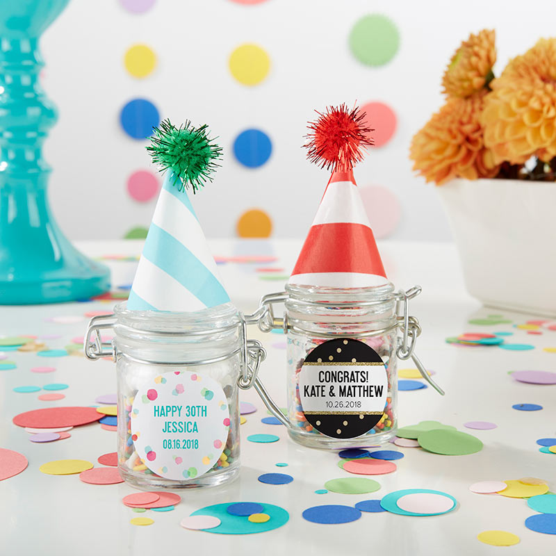 Personalized Glass Favor Jars - Party Time (Set of 12)