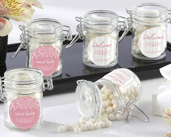 Personalized Glass Favor Jars - Kate's Rustic Baby Shower Collection (Set of 12)