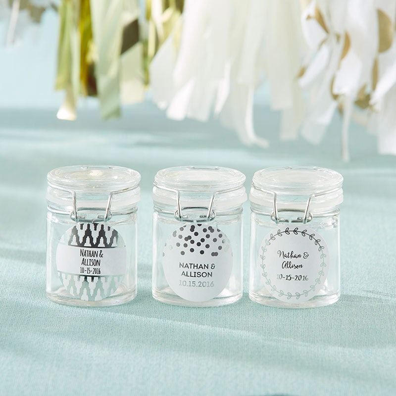 Personalized Glass Favor Jars - Silver Foil (Set of 12)