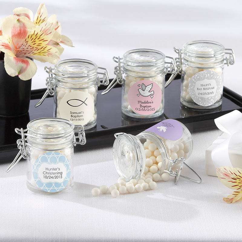 Glass Favor Jars - Religious (Set of 12) (Available Personalized)