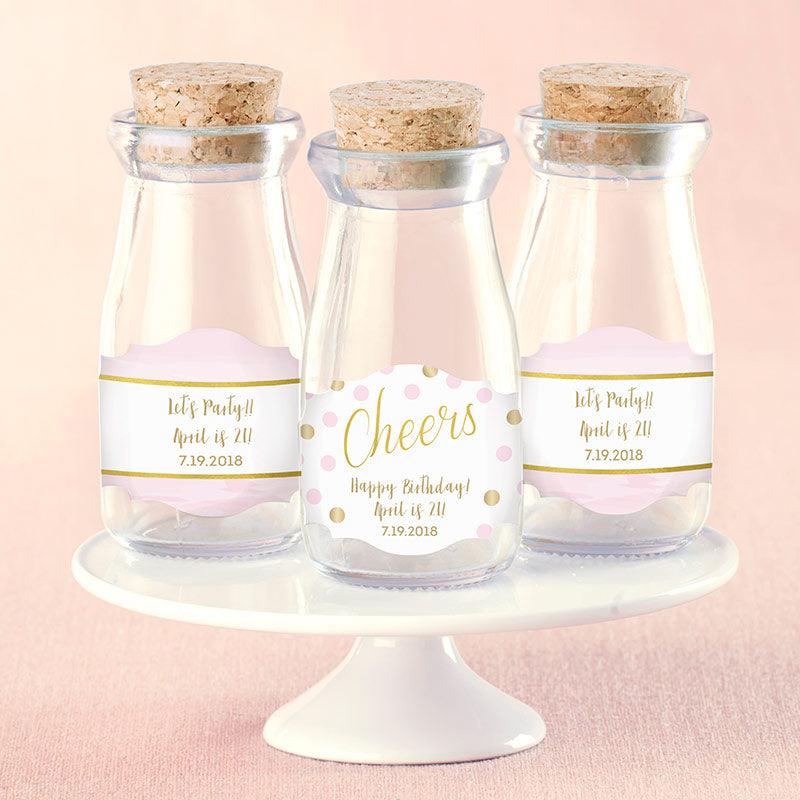 Vintage 3.8 oz. Milk Bottle Favor Jar - Birthday For Her (Set of 12) (Personalization Available)
