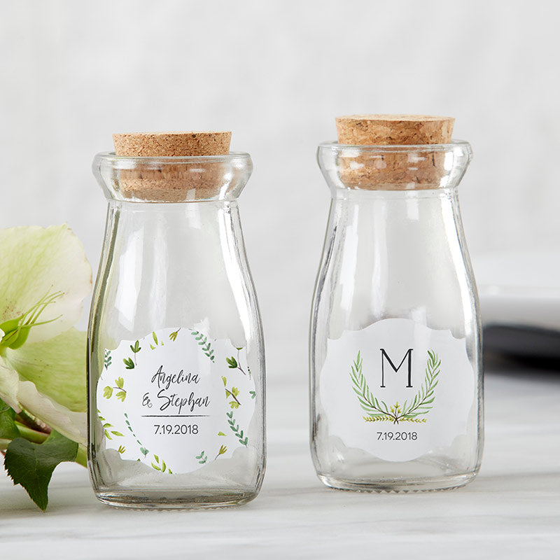 Vintage 3.8 oz. Milk Bottle Favor Jar - Botanical Garden (Set of 12) (Personalization Available)