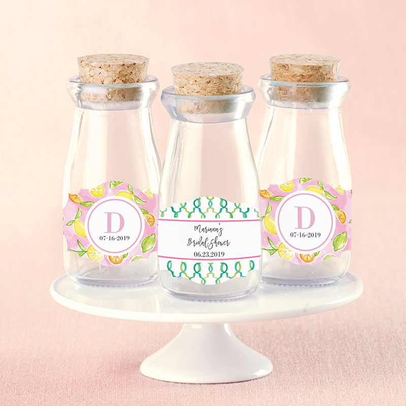Vintage Milk Bottle Favor Jar - Cheery & Chic (Set of 12) (Personalization Available)