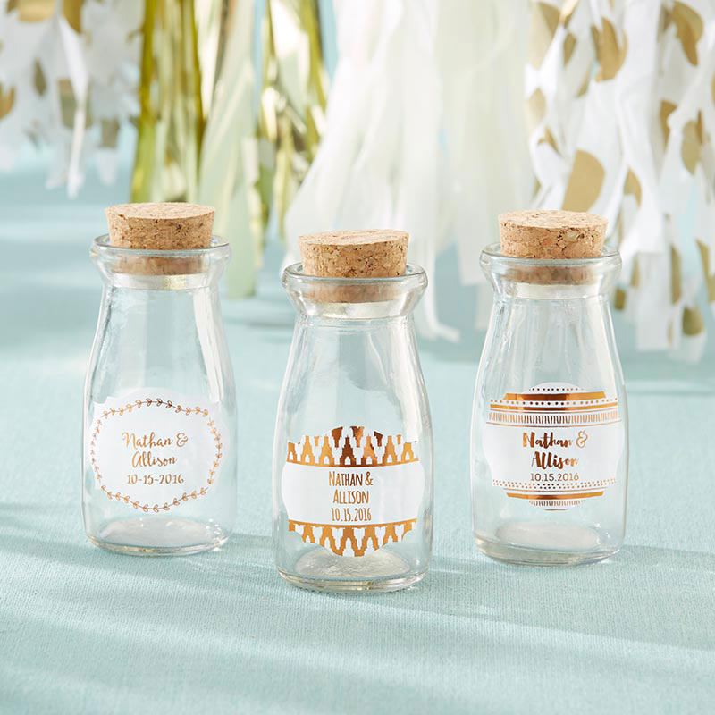 Vintage 3.8 oz. Milk Bottle Favor Jar - Copper Foil (Set of 12) (Personalization Available)