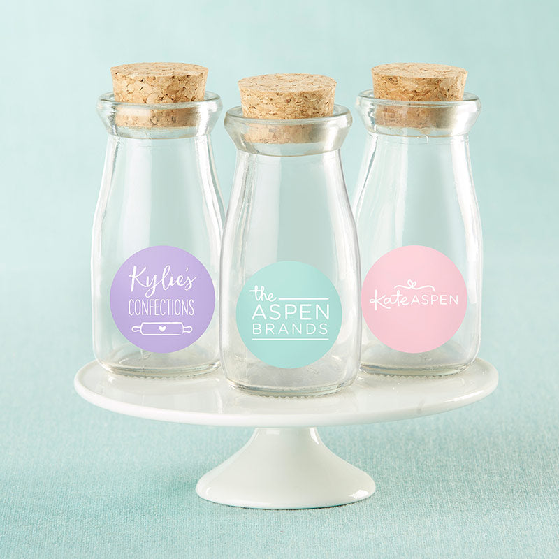 Personalized Vintage 3.8 oz. Milk Bottle Favor Jar - Custom Design (Set of 12)