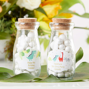 Vintage 3.8 oz. Milk Bottle Favor Jar - Dino Party (Set of 12) (Personalization Available)