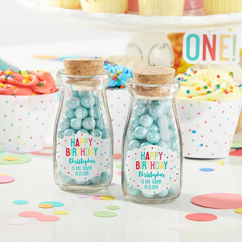 Vintage 3.8 oz. Milk Bottle Favor Jar - Happy Birthday (Set of 12) (Personalization Available)