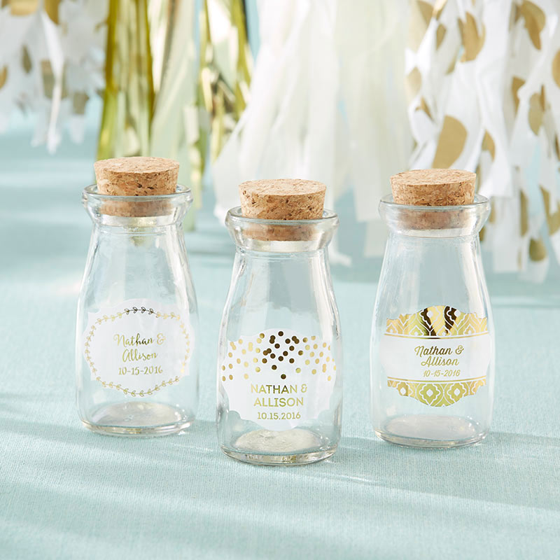 Vintage 3.8 oz. Milk Bottle Favor Jar - Gold Foil (Set of 12) (Personalization Available)