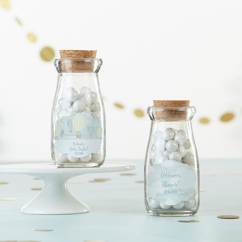 Vintage 3.8 oz. Milk Bottle Favor Jar - Gender Neutral Baby Shower (Set of 12) (Personalization Available)