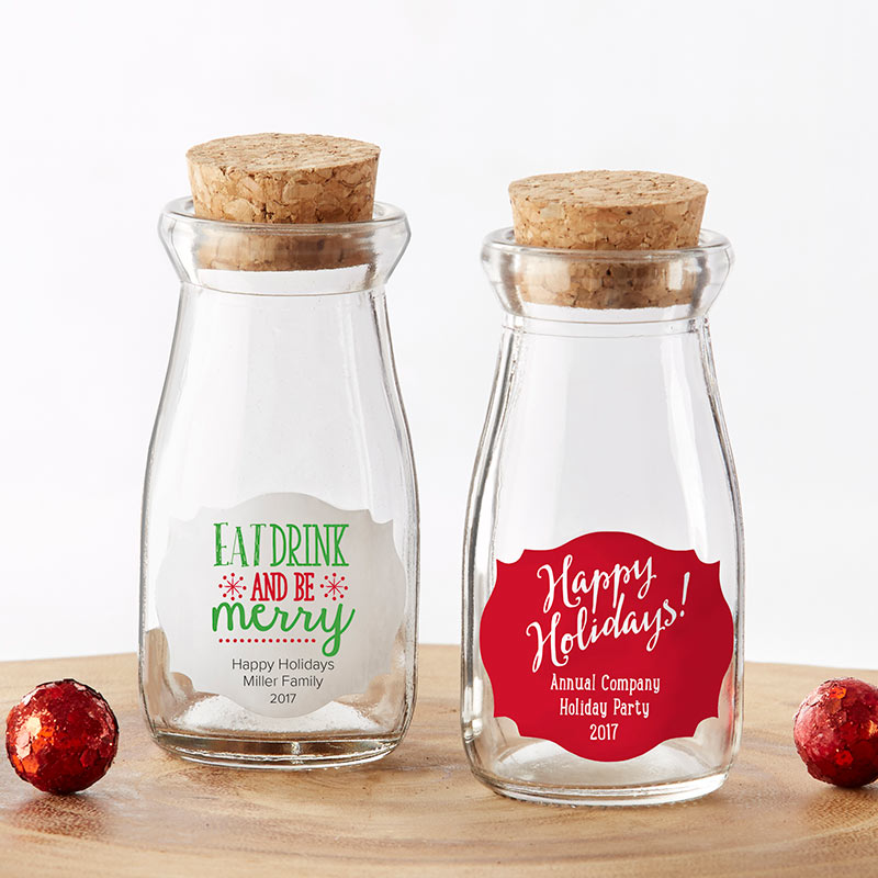 Vintage 3.8 oz. Milk Bottle Favor Jar - Holiday (Set of 12) (Personalization Available)