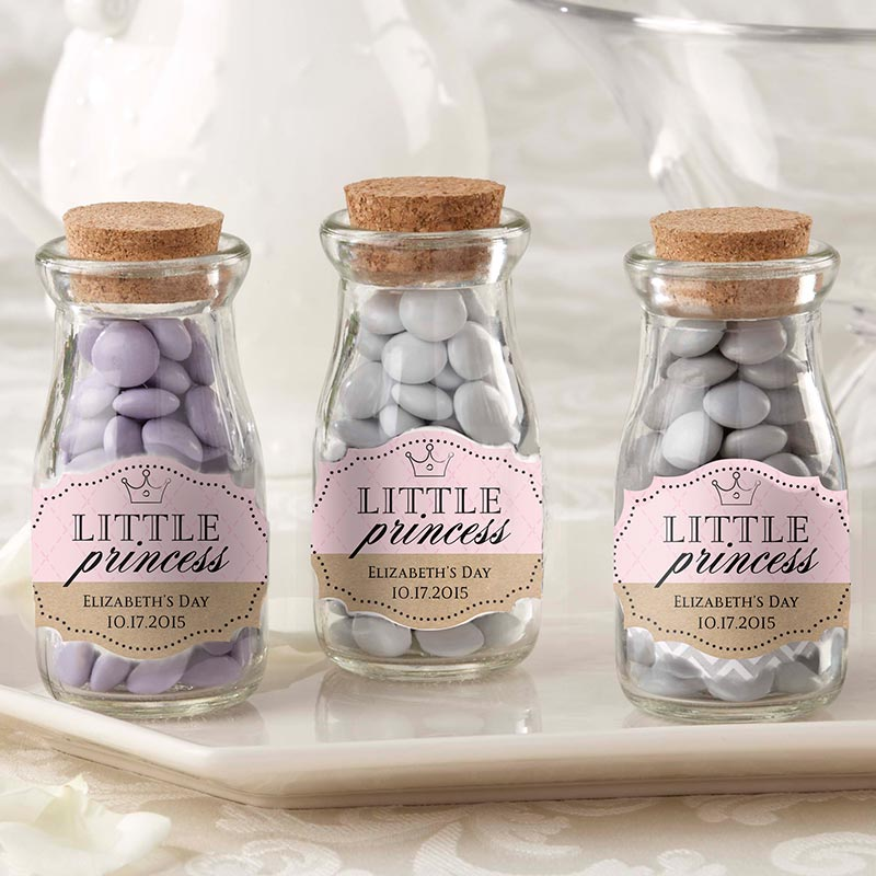 Vintage Milk Bottle Favor Jar - Little Princess (Set of 12) (Personalization Available)