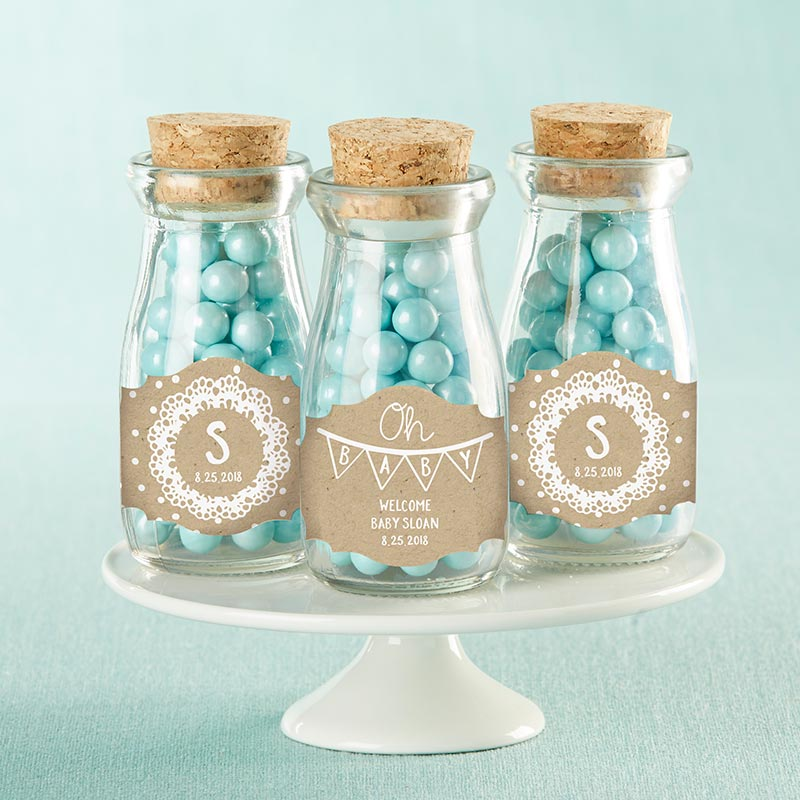 Vintage 3.8 oz. Milk Bottle Favor Jar - Rustic Charm Baby Shower (Set of 12) (Personalization Available)