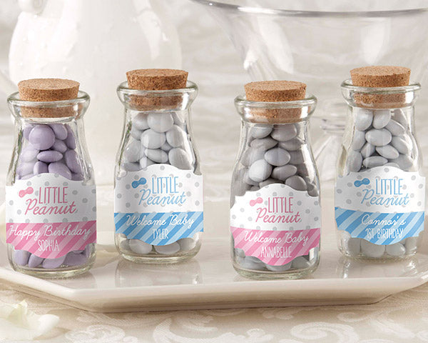 Vintage 3.8 oz. Milk Bottle Favor Jar - Little Peanut (Set of 12) (Personalization Available)