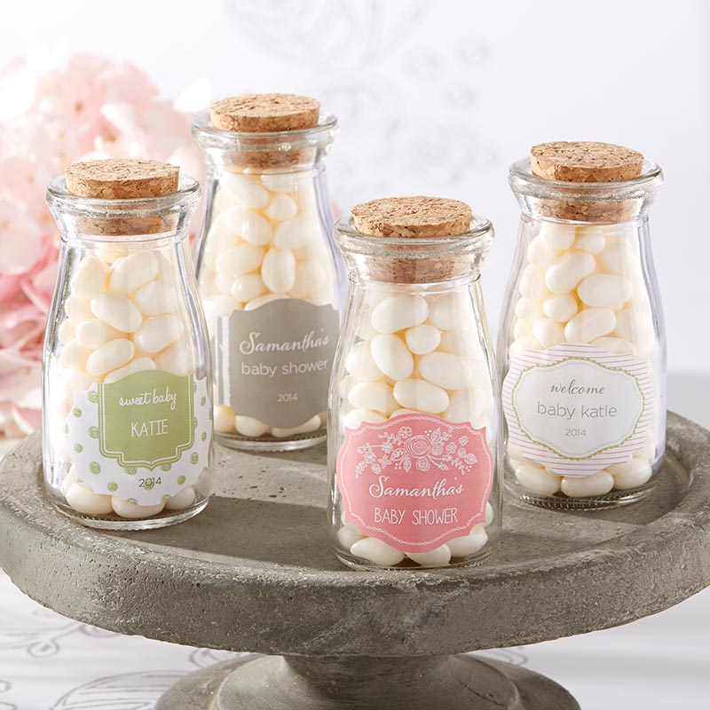 Vintage 3.8 oz. Milk Bottle Favor Jar - Rustic Baby Shower (Set of 12) (Personalization Available)