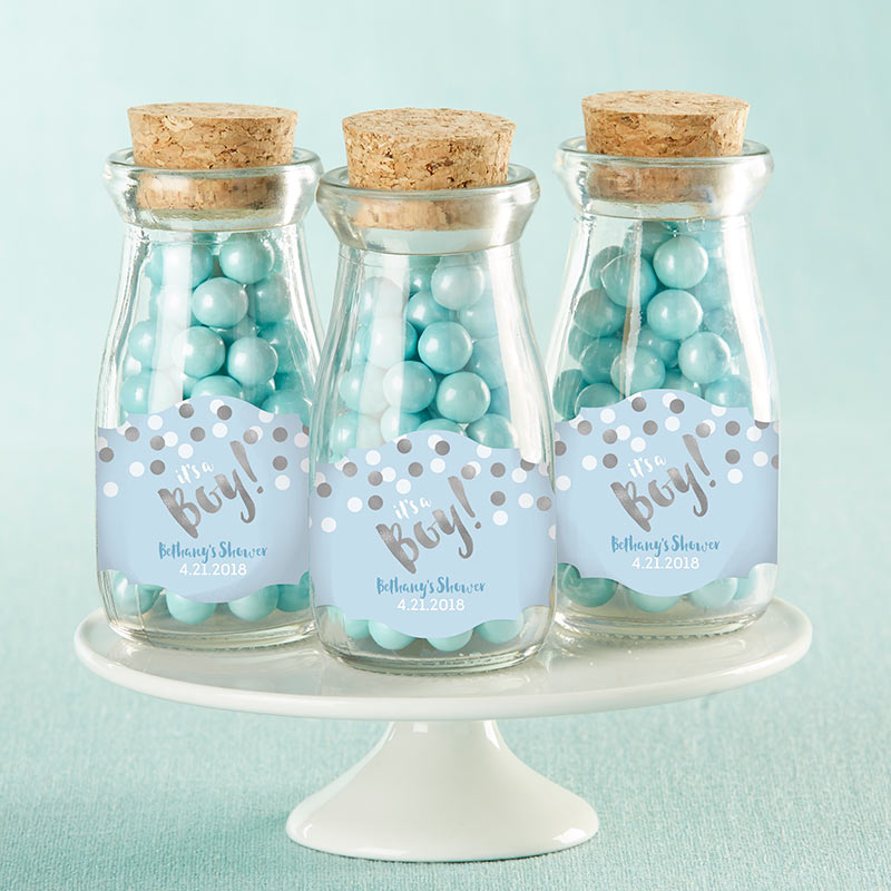Vintage 3.8 oz. Milk Bottle Favor Jar - It's a Boy! (Set of 12) (Personalization Available)