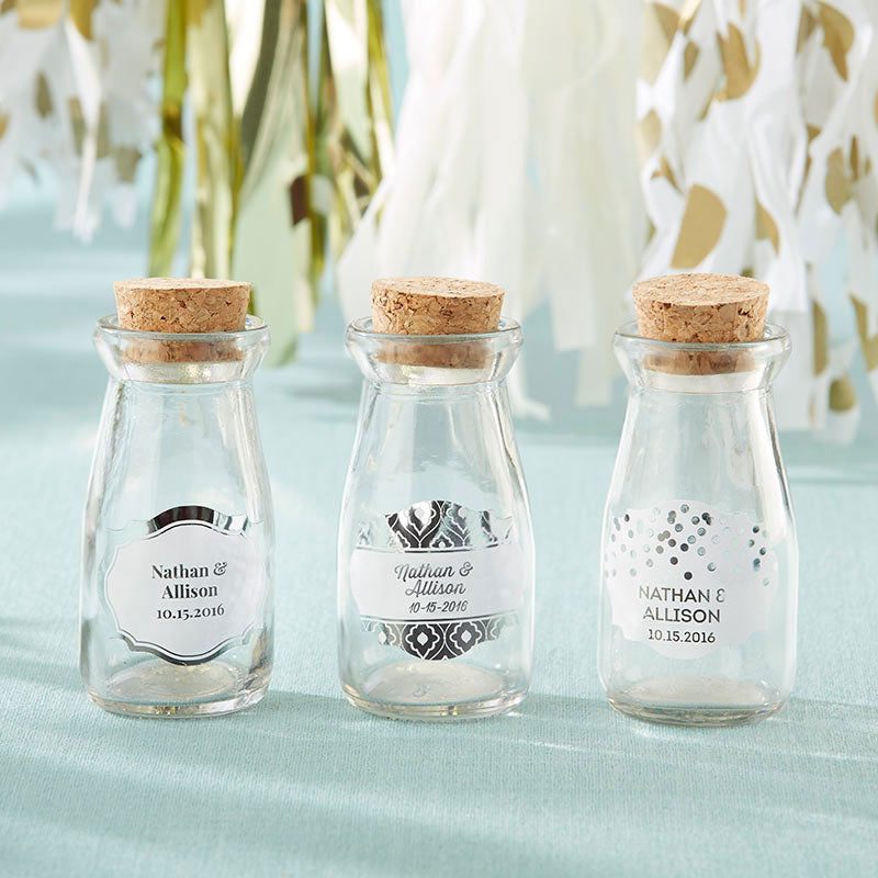 Vintage 3.8 oz. Milk Bottle Favor Jar - Silver Foil (Set of 12) (Personalization Available)