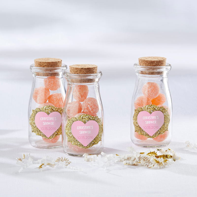 Vintage 3.8 oz. Milk Bottle Favor Jar - Sweet Heart (Set of 12) (Personalization Available)