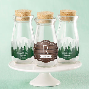 Vintage 3.8 oz. Milk Bottle Favor Jar - Winter (Set of 12) (Personalization Available)