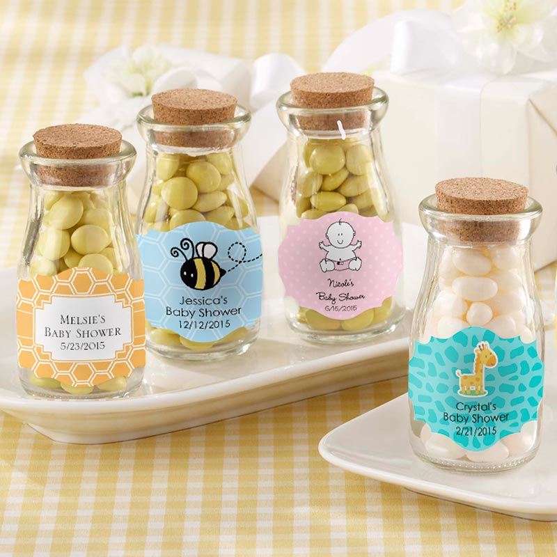 Vintage 3.8 oz. Milk Bottle Favor Jar - Baby (Set of 12) (Available Personalized)