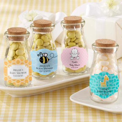 70 Personalized Baby Shower Animals Mini Glass Jar Swing Top Lid Candy Favor