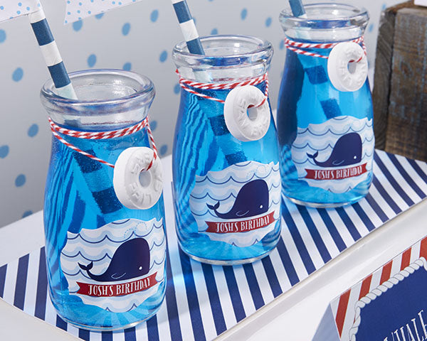 Vintage 3.8 oz. Milk Bottle Favor Jar - Nautical Birthday (Set of 12) (Personalization Available)
