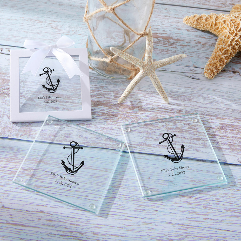 Load image into Gallery viewer, Personalized Glass Coaster - Baby Shower (Set of 12)