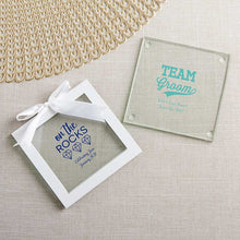 Load image into Gallery viewer, Personalized Glass Coaster - Bachelor & Bachelorette (Set of 12)