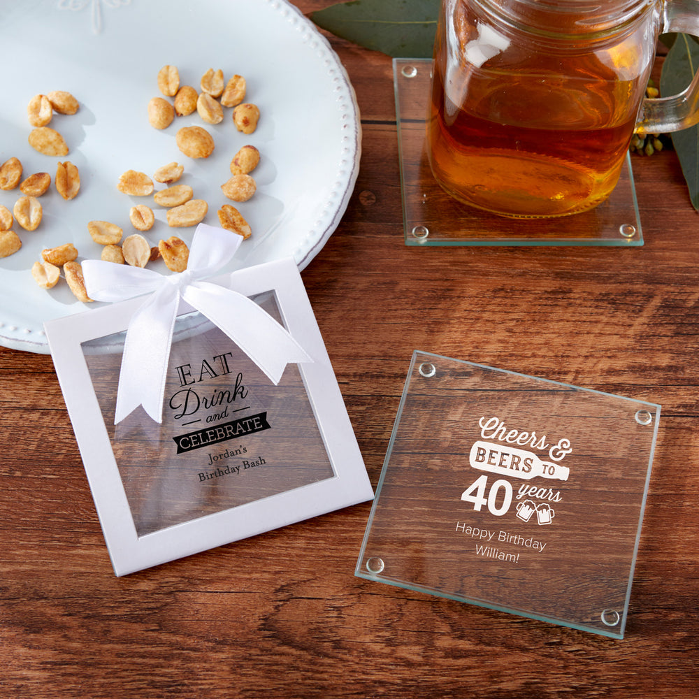 Load image into Gallery viewer, Personalized Glass Coaster - Birthday (Set of 12)