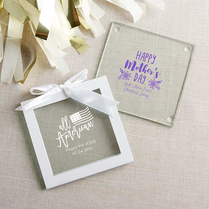 Personalized Glass Coaster - Holiday (Set of 12)