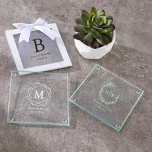Load image into Gallery viewer, Personalized Glass Coaster - Monogram (Set of 12)