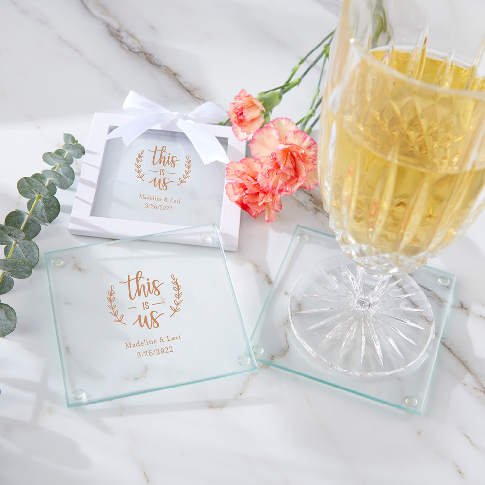Personalized Glass Coasters - Wedding (Set of 12)
