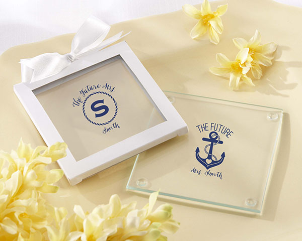 Personalized Glass Coaster - Nautical Bridal Shower (Set of 12)