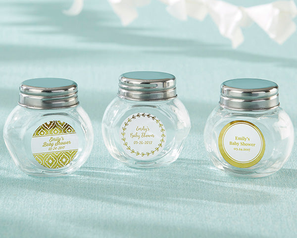 Load image into Gallery viewer, Personalized Mini Glass Favor Jar - Gold Foil (Set of 12)