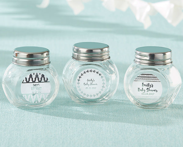 Personalized Mini Glass Favor Jar - Silver Foil (Set of 12)