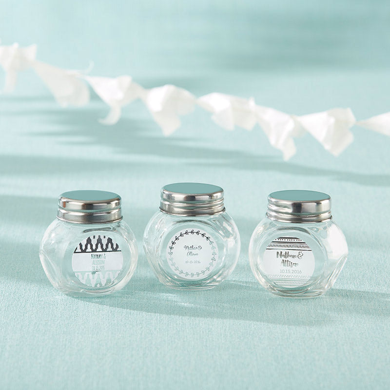Load image into Gallery viewer, Personalized Mini Glass Favor Jar - Silver Foil (Set of 12)