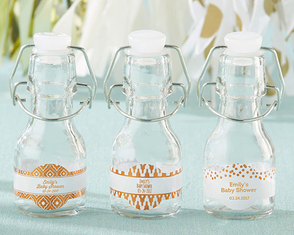 Load image into Gallery viewer, Mini Glass Favor Bottle with Swing Top - Copper Foil (Set of 12)