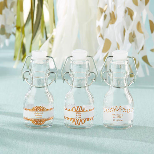 Mini Glass Favor Bottle with Swing Top - Copper Foil (Set of 12)