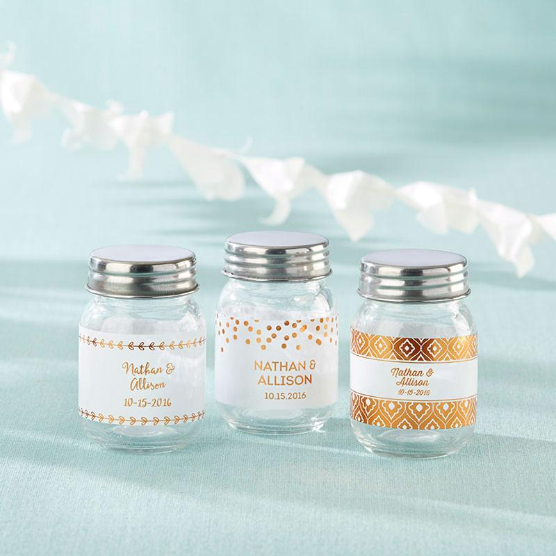 Personalized Mini Mason Jar - Copper Foil (Set of 12)