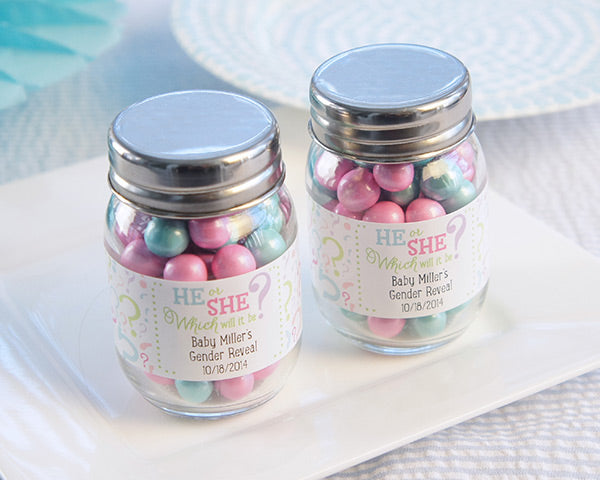 Gender Reveal Personalized Mini Mason Jar (Set of 12)